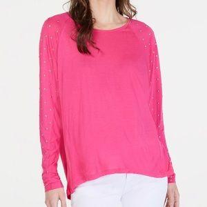 NWT Michael Kors Women's Pink Studded Sleeve Top